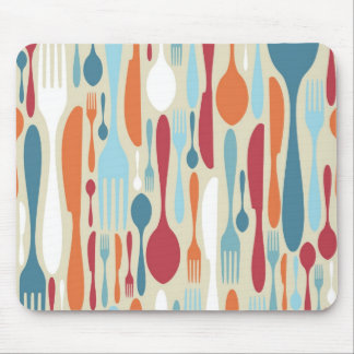 Cutlery Silhouette Icons Pattern Mouse Pad