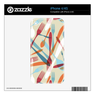 Cutlery Transparent Silhouette Pattern iPhone 4S Skins