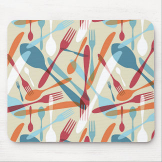 Cutlery Transparent Silhouette Pattern Mousepads