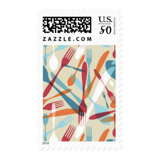 Cutlery Transparent Silhouette Pattern Postage