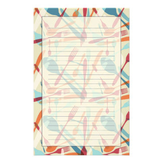 Cutlery Transparent Silhouette Pattern Stationery