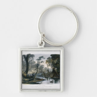 Cutoff River, Branch of the Wabash, plate 8 from V Silver-Colored Square Keychain