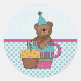 Cutomizable Birthday Bear Magnet Round Stickers