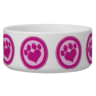 Cutomizable Heart Pawprint Dog & Owner GIfts, Tees Bowl