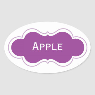 Cutomizable Purple and White Label Oval Stickers