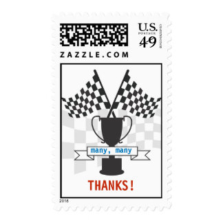 Cutomizable Race Car Trophy Thank You Stamp