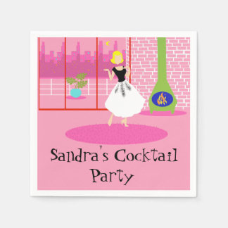 Cutomizable Retro In the Pink Paper Napkins