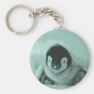 Cutout Baby Vintage Look Penguin Basic Round Button Keychain