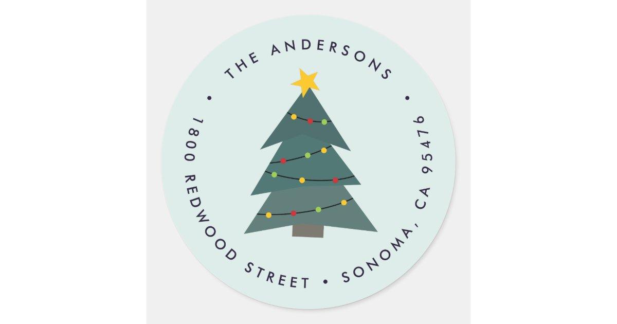 Christmas Tree Cutout.Cutout Christmas Tree Holiday Return Address Classic Round Sticker Zazzle Com
