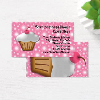 Cutout Cupcake with Pink Cherry Bakery Business Card