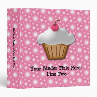 Cutout Cupcake with Pink Cherry on Top 3 Ring Binder