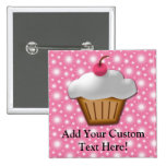 Cutout Cupcake with Pink Cherry on Top Button