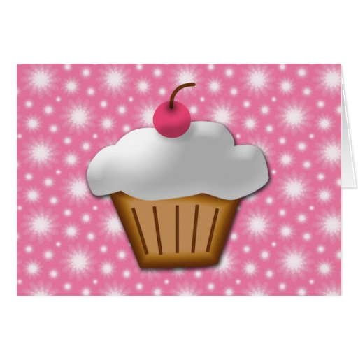Cutout Cupcake with Pink Cherry on Top Greeting Card