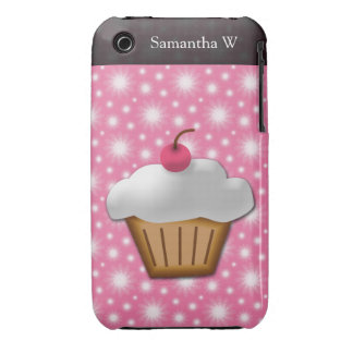 Cutout Cupcake with Pink Cherry on Top Case-Mate iPhone 3 Cases