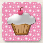 Cutout Cupcake with Pink Cherry on Top Drink Coaster