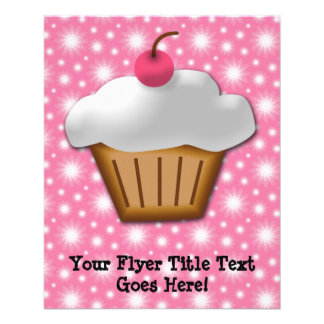 Cutout Cupcake with Pink Cherry on Top Flyer