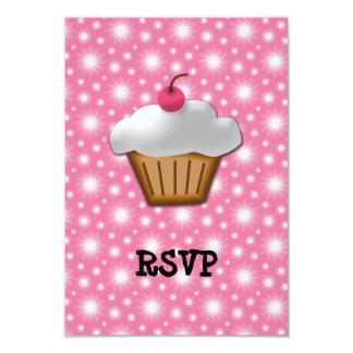 Cutout Cupcake with Pink Cherry on Top 3.5x5 Paper Invitation Card