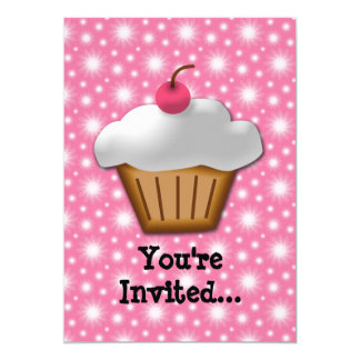 """Cutout Cupcake with Pink Cherry on Top 5"""" X 7"""" Invitation Card"""