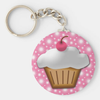 Cutout Cupcake with Pink Cherry on Top Key Chains