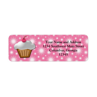 Cutout Cupcake with Pink Cherry on Top Label
