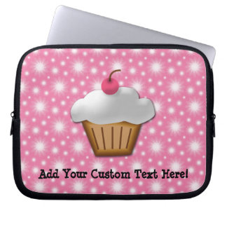 Cutout Cupcake with Pink Cherry on Top Laptop Sleeve