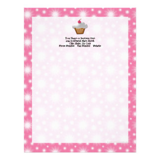 Cutout Cupcake with Pink Cherry on Top Letterhead