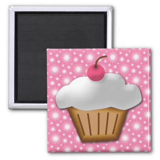 Cutout Cupcake with Pink Cherry on Top Fridge Magnets