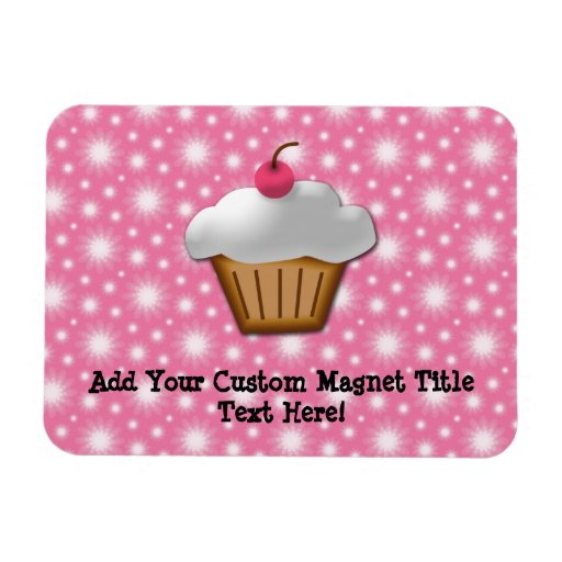 Cutout Cupcake with Pink Cherry on Top Magnet