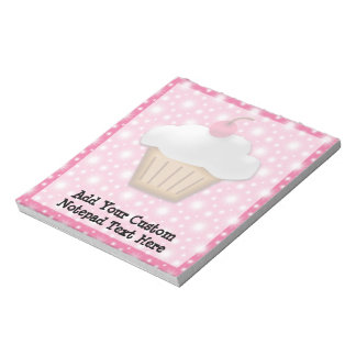 Cutout Cupcake with Pink Cherry on Top Memo Notepads