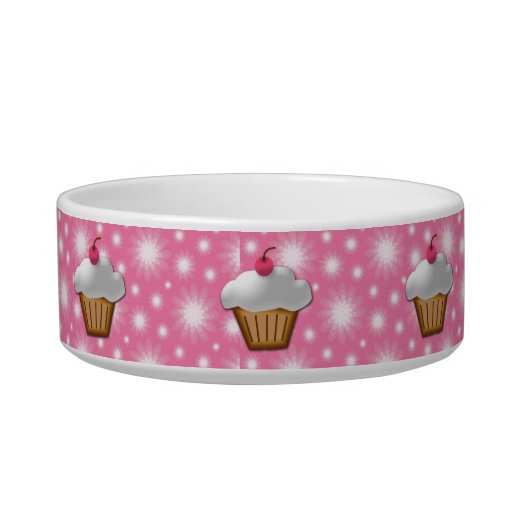 Cutout Cupcake with Pink Cherry on Top Cat Water Bowls