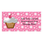 Cutout Cupcake with Pink Cherry on Top Photo Card