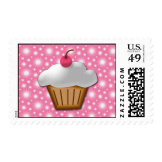Cutout Cupcake with Pink Cherry on Top Postage
