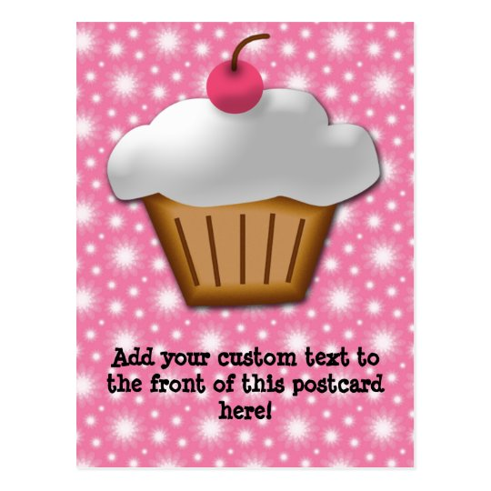 Cutout Cupcake with Pink Cherry on Top Postcard