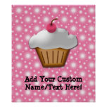 Cutout Cupcake with Pink Cherry on Top Poster