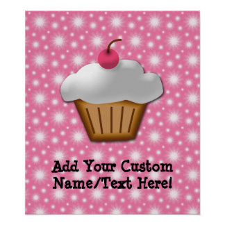 Cutout Cupcake with Pink Cherry on Top Print