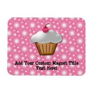 Cutout Cupcake with Pink Cherry on Top Rectangular Photo Magnet