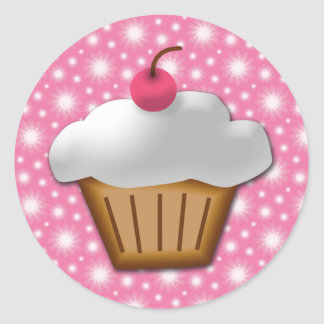 Cutout Cupcake with Pink Cherry on Top Round Sticker