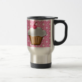 Cutout Cupcake with Pink Cherry on Top Travel Mug