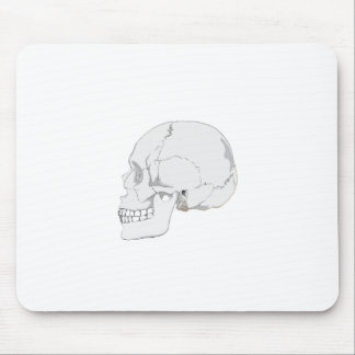 Cutout Effect White Human Skull Drawing Mouse Pad