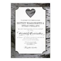 Cutout Heart Birch Tree Bark Wedding Invitations