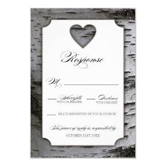 Cutout Heart Birch Tree Bark Wedding RSVP Cards