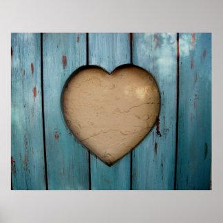 Cutout heart shape artistic poster