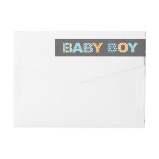 Cutout Letters Baby Boy Shower Wraparound Label Wraparound Return Address Label