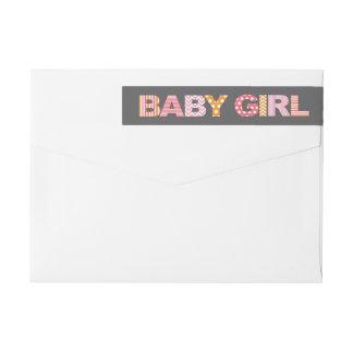 Cutout Letters Baby Girl Shower Wraparound Label Wraparound Return Address Label