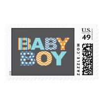 Cutout Letters Baby Shower Custom Stamp - Baby Boy