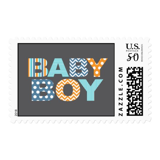 Cutout Letters Baby Shower Custom Stamp   Baby Boy