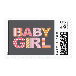 Cutout Letters Baby Shower Custom Stamp - Baby Gir
