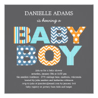 Cutout Letters Baby Shower Invitation - Boy Invitation