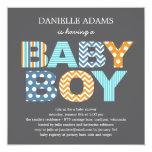 "Cutout Letters Baby Shower Invitation - Boy 5.25"" Square Invitation Card"