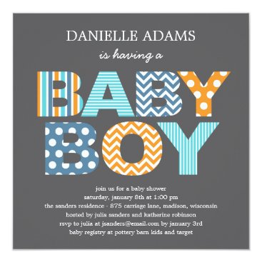 baby,or,expecting Cutout Letters Baby Shower Invitation - Boy